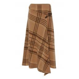 Wrap-Effect Asymmetric Checked Wool Midi Skirt