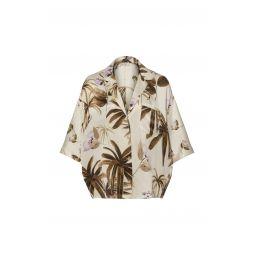 Mixed Tropical Garden Silk Pajama Shirt