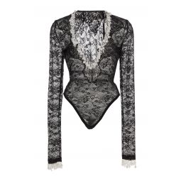 Pearl-Embellished Lace Bodysuit