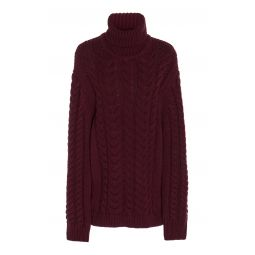 Cable-Knit Wool-Blend Turtleneck Sweater
