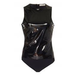 Vinyl-Paneled Jersey Bodysuit