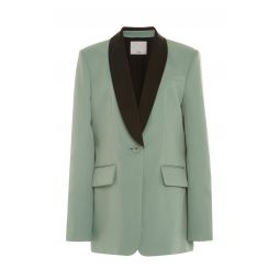 Oversized Color-Blocked Twill Tuxedo Blazer