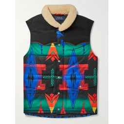 Faux Shearling-Trimmed Quilted Printed Shell Gilet