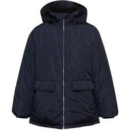 Fleece-Trimmed Shell Hooded Down Coat
