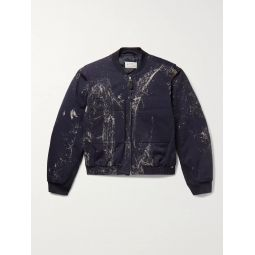 Paint-Splattered Cotton-Twill Bomber Jacket