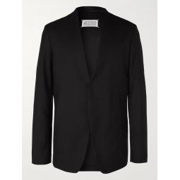 Black Collarless Wool Blazer