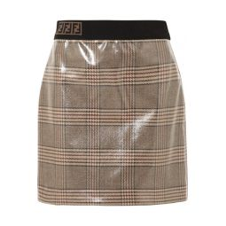 Prince of Wales checked glossed-wool mini skirt