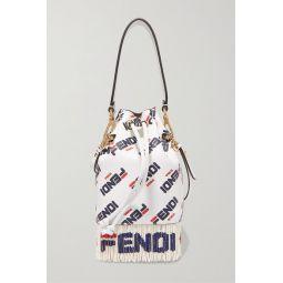 Logo-printed fringed leather shoulder bag