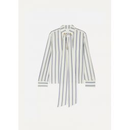 Pussy-bow striped silk-georgette blouse