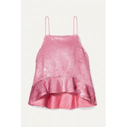 Ruffled sequined satin camisole