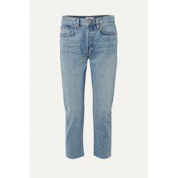 Cropped mid-rise slim boyfriend jeans