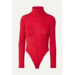 Ribbed cotton-jersey turtleneck thong bodysuit