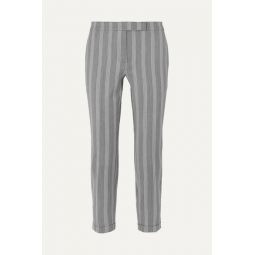 Cropped striped wool and cotton-blend slim-leg pants