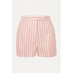 Striped wool, mohair and silk-blend shorts