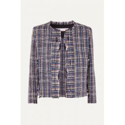Frannie distressed cotton-blend tweed jacket