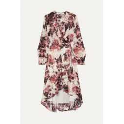Ruffle-trimmed floral-print georgette wrap dress