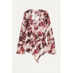 Paradon ruffled floral-print georgette wrap-effect blouse