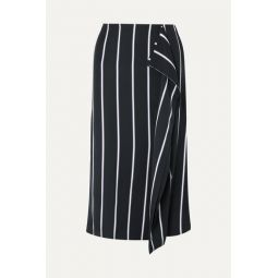Climmie draped striped twill midi skirt
