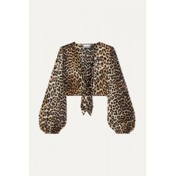 Cropped tie-front leopard-print silk-blend satin top