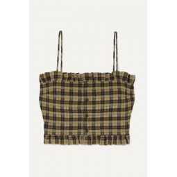 Cropped shirred checked cotton-blend seersucker top