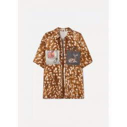 Oversized printed cotton-twill shirt