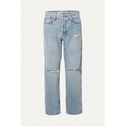 Low Slung Crop distressed boyfriend jeans