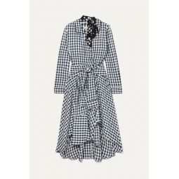 Wrap-effect floral-print crepe-trimmed gingham seersucker dress
