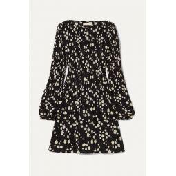 Pleated floral-print crepe mini dress