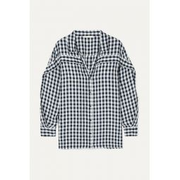 Ruffled gingham canvas shirt