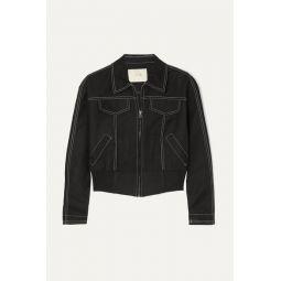 Cropped cotton-blend bomber jacket