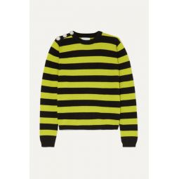 Button-embellished striped cashmere sweater