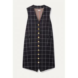 Grosgrain-trimmed checked wool-twill mini dress
