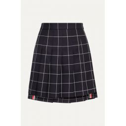Pleated checked wool-twill mini skirt