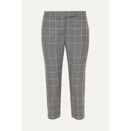 Checked cropped wool-twill slim-leg pants