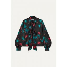 Pussy-bow floral-print silk-blend satin blouse