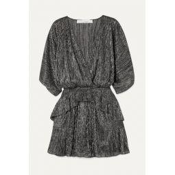 Spina wrap-effect ruffled lam챕 mini dress