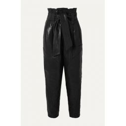 Bahio belted leather tapered pants