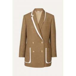 Double-breasted bow-detailed leather-trimmed wool and silk-blend blazer