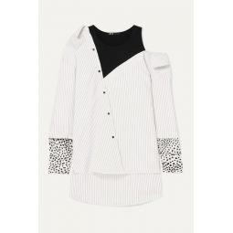 Lamelia layered twill, jacquard and jersey blouse