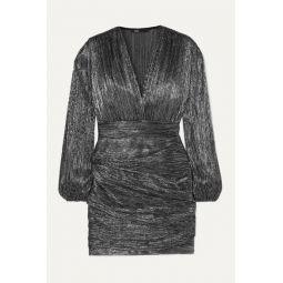 Ruched lam챕 mini dress