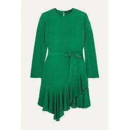 Romea belted asymmetric ruffled crepe dress