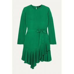 Romea belted asymmetric ruffled crepe dress