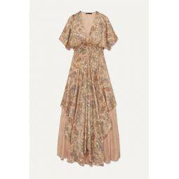 Rachel asymmetric printed devor챕-satin dress