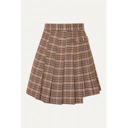 Jilo buckled pleated checked tweed mini skirt