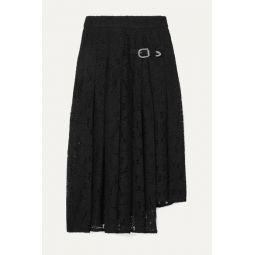 Jalilo buckled asymmetric pleated guipure lace midi skirt