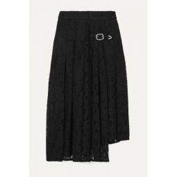 Jalilo buckled asymmetric pleated guipure lace midi skirt