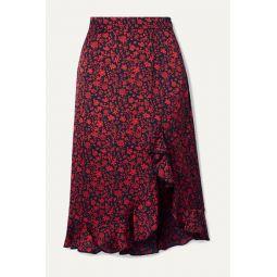 Javie ruffled floral-print satin skirt