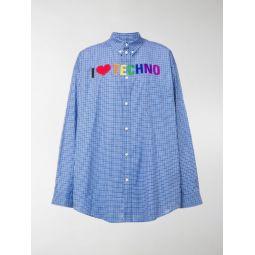 embroidered check print shirt