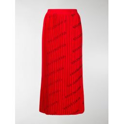 logo print pleated skirt