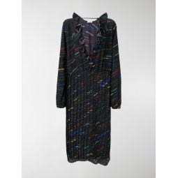 ruffle-neck pleated dress